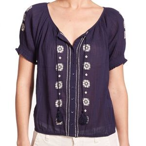 Joie Dolina Embroidered Peasant Top